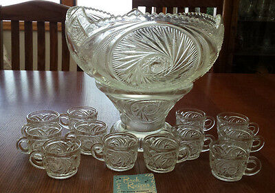 Vintage McKee Aztec 14 pc EAPG Punch Bowl & Stand with 12 Cups