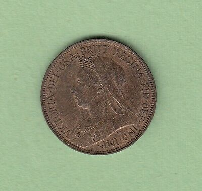 1900 Great Britain 1/2 Penny Coin - Queen Victoria - AU/UNC