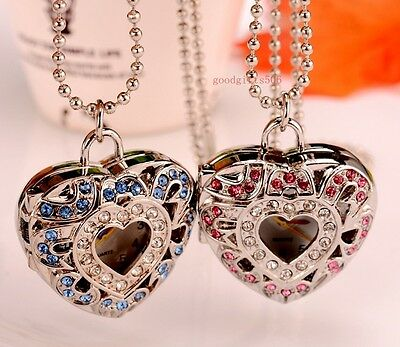 New 8pcs Double Heart Crystal girls Student gift Rhinestone Necklace watches F60