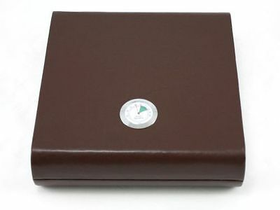 Brown Leather Travel 20 Cigar Humidor Case External Build in Hygrometer