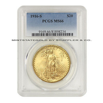 1916-S $20 Saint Gaudens PCGS MS66 Gem Gold Double Eagle San Francisco CoinStats