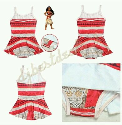 2017 New Kids Toddler Girls Moana One Piece Swimwear Swimsuit Cosplay