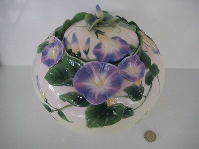 Beautiful Franz Porcelain Morning Glory Large Covered Jar Lidded Ashes Urn Pot