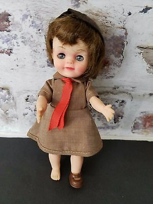 """Vintage 1965 Effanbee 8"""" official Brownie Girl Scout doll mint condition origina"""