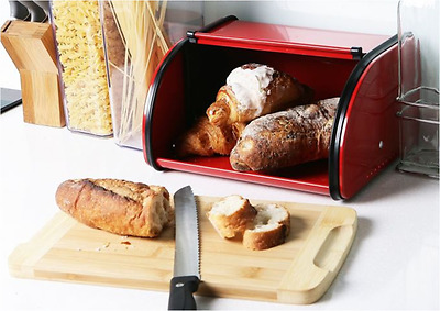 Bread Storage Box Metal Construction with Roll up Lid for Kitchen for Kitchen