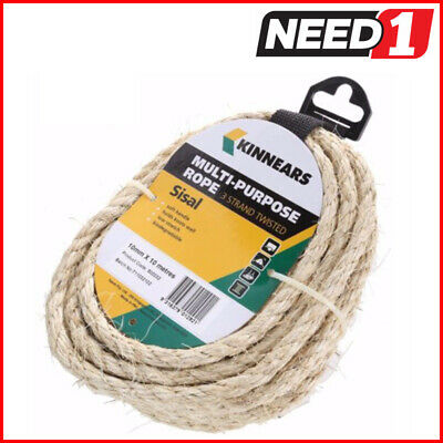 6 COIL PACKS x KINNEARS 3-Strand Twisted Multi-Purpose Sisal Ropes 10mm x 10M
