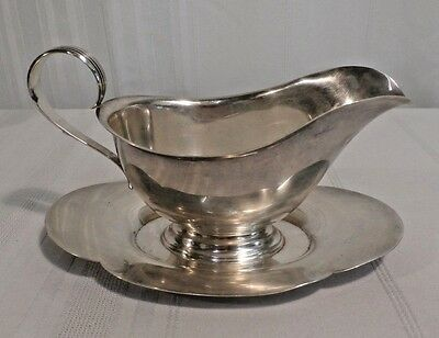 Gorham 709 Sterling Silver Large Gravy Boat with Attached Underplate No Mono