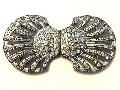 Antique Art Deco Signed WMCA Pave Rhinestone Buckle Clasp Button Jewelry JVJ12