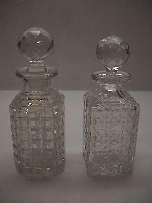 SET OF 2 Small Presd GLASS DECANTERS Ball Toppers SQUARE Shape VARIOUS Patterns