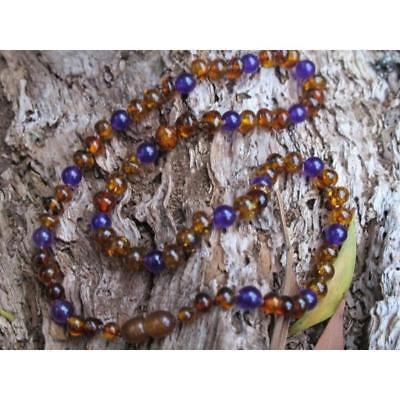 NEW Slobber Beads Amber and Amethyst NECKLACE