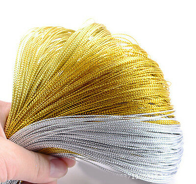 100M Metallic Gift Tag Cord(Non-Elastic) Gold/Silver Crafts Beading String 1.0MM