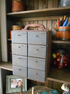 Antique Primitive Wood Apothecary Spice Cabinet 8 Drawers Divided Storage Parts