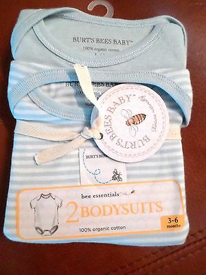 Burt's Bees Baby Boys 2-Pack Organic Cotton Bodysuits Blue/White 3-6 Months