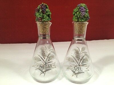Vintage glass silver leaf  wheat pattern  oil and vinegar