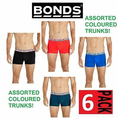 6 PAIRS x MENS BONDS EVERYDAY TRUNKS UNDERWEAR Assorted Colour Pack trunk shorts