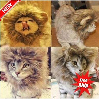 Pet Hat Lion Mane Wig For Cat Halloween Fancy Dress Up With Ears Festival ZY