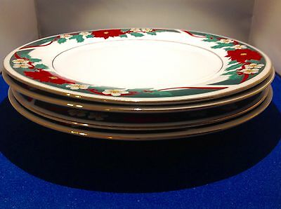 Tienshan Fine China Deck The Halls Poinsettias (4) Dinner Plates Excellent Cond.