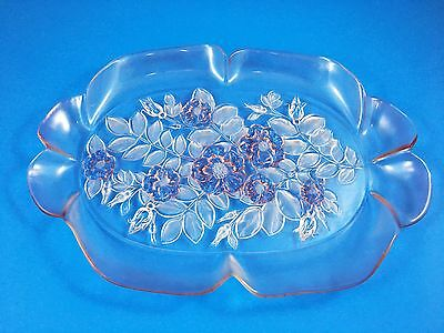 "Mikasa Pink Glass Oval Serving platter 15 1/2"" x 11"" - Excellent Condition"