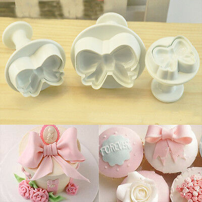 3pcs Cute Bowtie Shape Fondant Sugarcraft Cake Decorating Plungers Mould Cutters