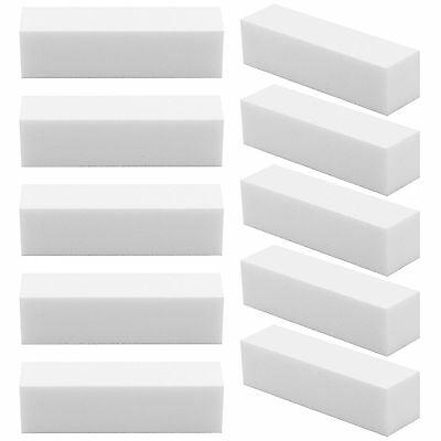 10x White Acrylic Nail Art Tips Buffer Buffing Sanding Block Files salon art UK