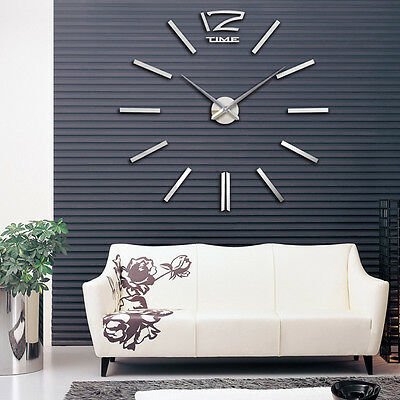 Fashion Simple Style Art 3D Mirror Surface Wall Sticker Clock Home Room Decor