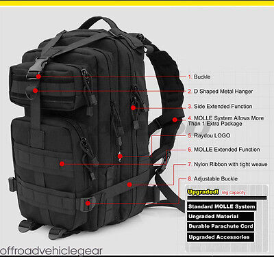 NEW 30/45L Black Molle Tactical Army Backpack Camping Hiking Bag Rucksack Pack