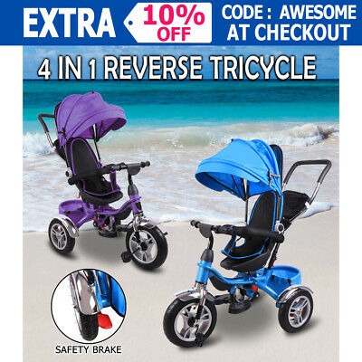 4In1 Kids Reverse Toddler Tricycle Bike Ride Trike Handle Push Ride-On Toys Pram
