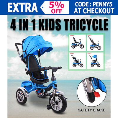 4 In 1 Kids Baby Tricycle Bike Trike Ride-On Reverse Toddler Stroller Pram Blue
