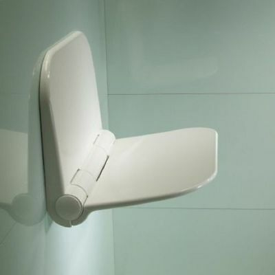 Disabled Wall Mounted Folding White Shower Seat Compact Detachable Durable 160kg