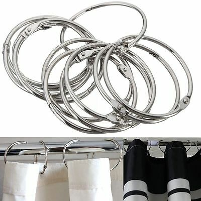 12xUtility Stainless Steel Round Rings Bathroom Shower Curtain Hooks Anti Rust