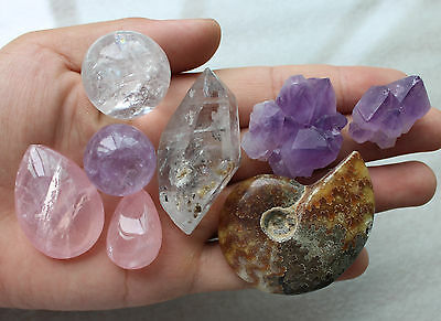 A lot of natural quartz crystal & fossil mineral specimens of rough 180G