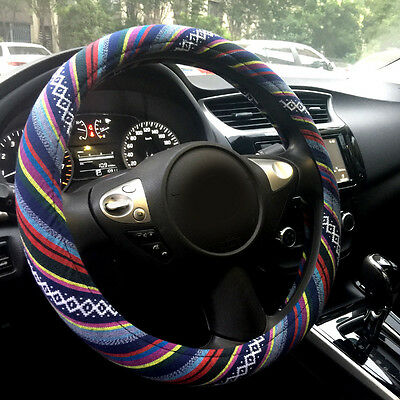 Automotive Boho Ethnic Flax Sofy Universal Car Steering Wheel Cover Grip 15""