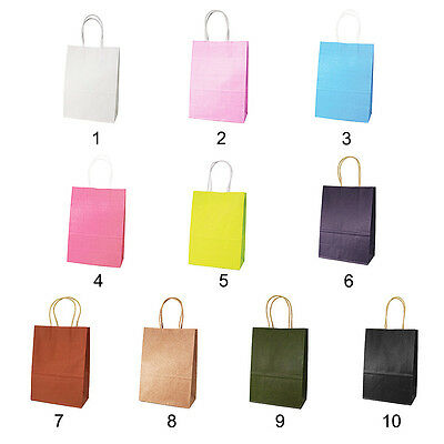 10 Colors Party Bags Kraft Paper Gift Bag With Handles Recyclable Shop Loot Bag