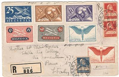 cover8 Switzerland 1928 cover with airmails Registered to Italy