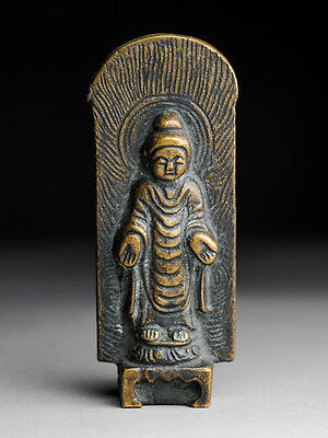 Buddha Stele China Inschrift Bronze antique Stil der Tang Dynastie alt antik