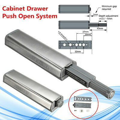 1/5/10x Cabinet Door Latch Push+Magnetic Tip Head Damper Buffer Push Open System