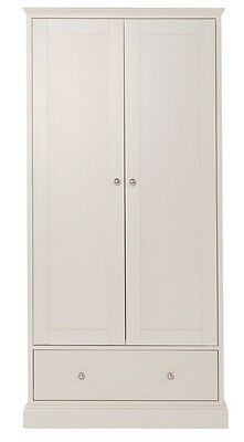 Ashby Cotton White Double Door Bedroom Wardrobe with Drawer
