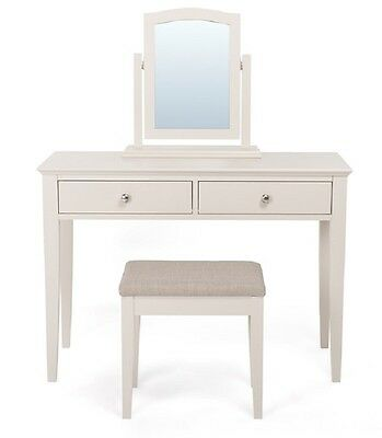 Ashby Cotton White Modern and Traditional Dressing Table with Drawers and Stool