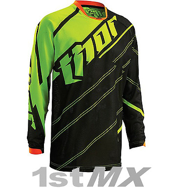 Thor MX Phase Doppler Vented Black Green Motocross Jersey Adult Small SALE!