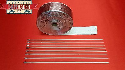 Cafe Racer 15M Silver Exhaust Wrap With 8 Stainless Steel Ties