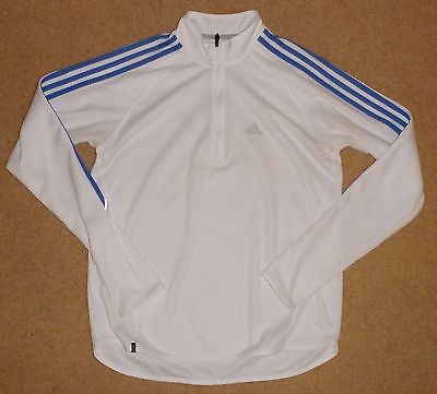 Small Mens RUNNING TOP Mens Running Top White Polyester 1/2 zipped Pre Owned