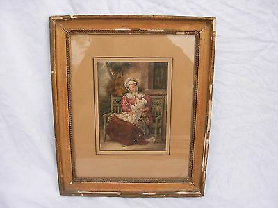 ANTIQUE FRENCH FRAMED WATERCOLOR PAINTING ON PAPER,19th CENTURY.