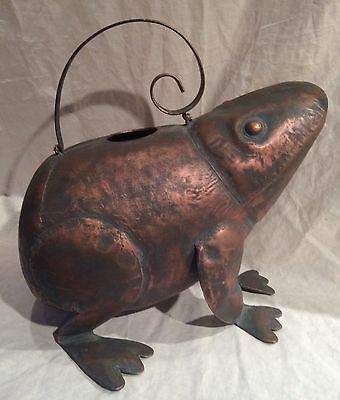 Adorable Copper Plated Steel Frog Watering Can Holds 3 1/2 Quarts
