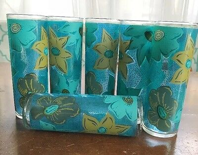 6 VINTAGE LIBBEY Retro Turquoise Blue Green Flowers GLASSES-TOM COLLINS