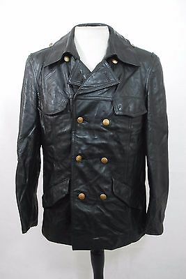 """Vintage German Black Double Breasted Police Polizei Leather Jacket 38"""""""