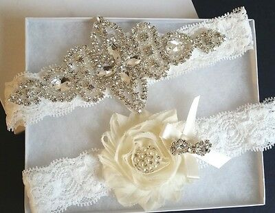 Wedding Garter Set - Crystal Pearl Ivory Shabby Flower Wedding Garter Set