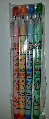 Vintage 1980s Set Of 4 Bensia Candy Pops Non Sharpening Pencil unopened unused