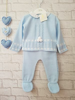 Gorgeous Baby Boys Blue Knitted Spanish Romany Style Pom Pom Suit Mintini