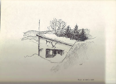 Back shop, ink drawing by Carlo Italiano