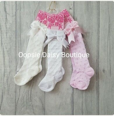 Baby Girls Gorgeous Knee High Shiny Spot Socks With Ribbons  ☆ Knee Socks ☆
